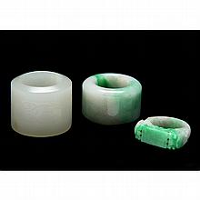 Group of Three Chinese Jade Rings