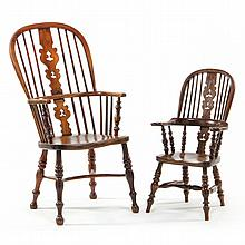 Two English Mother and Child Windsor Arm Chairs
