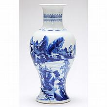Chinese Kangxi Period Blue and White Porcelain Baluster Vase