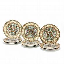 Set of Nine Unusual Rose Medallion Plates