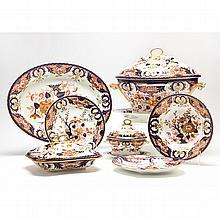 Partial Set of Crown Derby Dinnerware, Imari Style