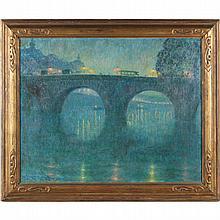 Frank Armington (1876-1941), Pont Royal, Paris (le soir)