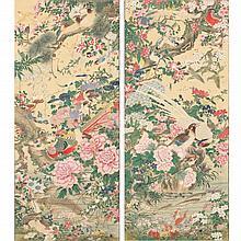 Pair of Japanese Rimpa School Hanging Scrolls