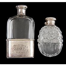Two Antique Tiffany & Co. Sterling Silver & Glass Flasks