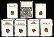 Seven Certified Wheatback Lincoln Cents