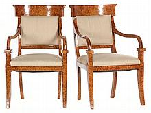 Pair of Biedermeier Style Open Arm Chairs