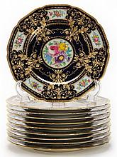 Set of Ten Black Knight Cabinet Plates