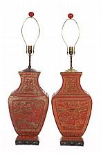 Pair of Chinese Cinnabar Table Lamps