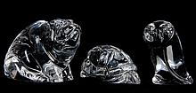 Three Molded Glass Animals