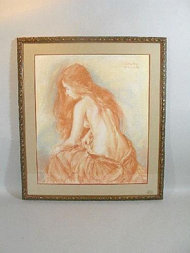 Sheldon C. Schoneberg (American, b. 1926), Pastel on Paper, female nude,  matted and framed; DOA 38in. h x 34in. w
