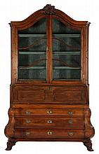 French or Dutch Baroque Bombe Secretary Bookcase