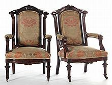 Pair of American Renaissance Revival Arm Chairs
