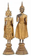 Pair of Thai Gilt Bronze Buddha Statuettes