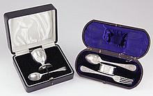 Two Child's Cased Silver Sets