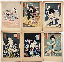 Six Japanese Woodblock Prints of Kabuki Actors