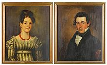 Pair of American School Folk Art Portraits