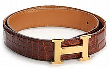 Reversible Crocodile Constance Belt, Hermes