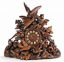 Impressive Black Forest Carved Mantel Clock