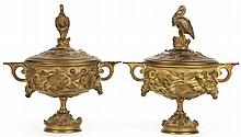 Pair of French Gilt Metal Covered Urns