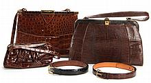 Three Vintage Handbags, Two Vintage Belts