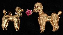 Two Vintage Gold Poodle Jewelry Items