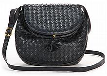 Navy Intrecciato Shoulder Bag, Bottega Veneta