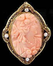 Carved Coral Cameo with Pearls and Diamonds