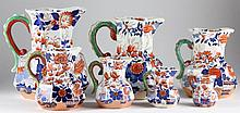 Set of Graduated English Imari Hydra Pitchers