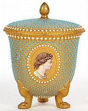 Royal Worcester Jeweled Cabinet Cup & Cover