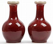 Pair of Large Chinese Ox Blood Vases