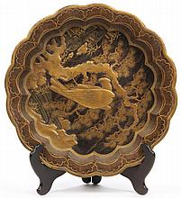 Japanese Raised Gilt Lacquer Lobed Dish