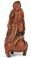 Chinese Bamboo Carving of Liu Hai & His Toad