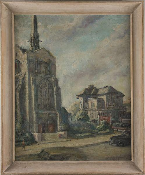 Jonathan Batchelor (CA, 1913-2003), Street Scene,