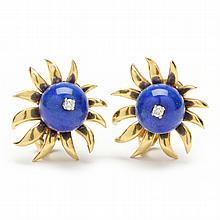 18KT Lapis and Diamond Clip Earrings, Schlumberger for Tiffany & Co.