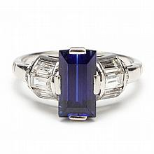Art Deco Platinum, Synthetic Sapphire and Diamond Ring