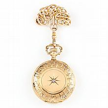 14KT Lady's Pocket Watch and Watch Pin Brooch, Waltham