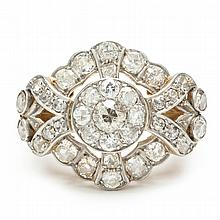 Antique Platinum and Gold Diamond Ring