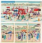 Two Japanese Meiji Period Woodblock Triptychs