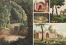 Five Lithograph Engravings of Washington's Tomb