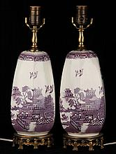Pair of Chinoiserie Purple Transferware Lamps