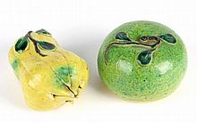 Two Porcelain Chinese Temple Fruits