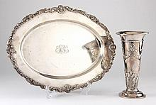 Antique Sterling Silver Vase & Tray