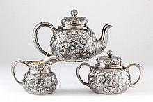 American Sterling Silver Repousse Tea Set