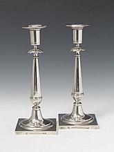 A pair of Berlin silver neoclassical candlesticks. Marks of Esajas Karl Hoffmann, 1804 - 13.