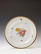 A large Berlin KPM neoclassical porcelain platter with floral and insect decor.