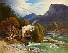 August Wilhelm Ferdinand Schirmer, A Southern Valley with a Water Mill