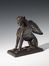 A Prussian cast iron figure of a winged Sphinx.