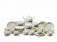 A gilt-edged porcelain tea service printed with motifs from Kolkhoz farms, gilt and inscribed