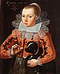 FLEMISH SCHOOL ,dated 1628, PORTRAIT OF A GIRL WITH A KING CHARLES SPANIEL