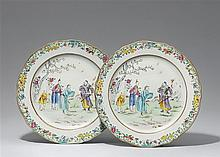 A pair of large famille rose dishes. Qianlong period (1735-1796)
